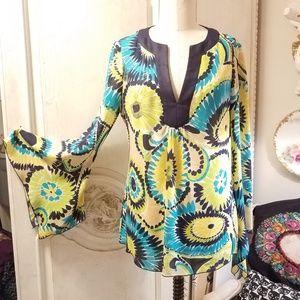 Trina Turk 100% SILK summer bell sleeve top